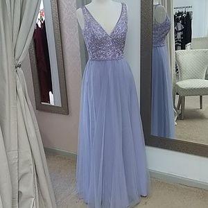 Mori Lee/ Violet Long Formal  Dress/ Sequin Bodice